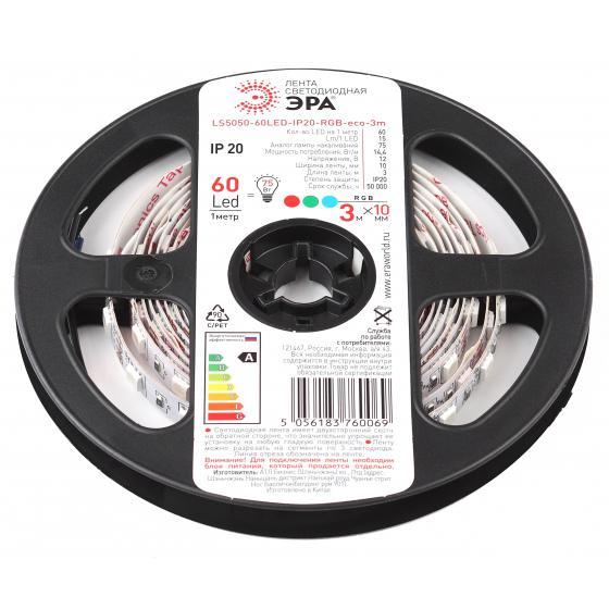 цена на Лента светодиодная ЭРА Ls5050-60led-ip20-rgb-eco-3m Б0035605