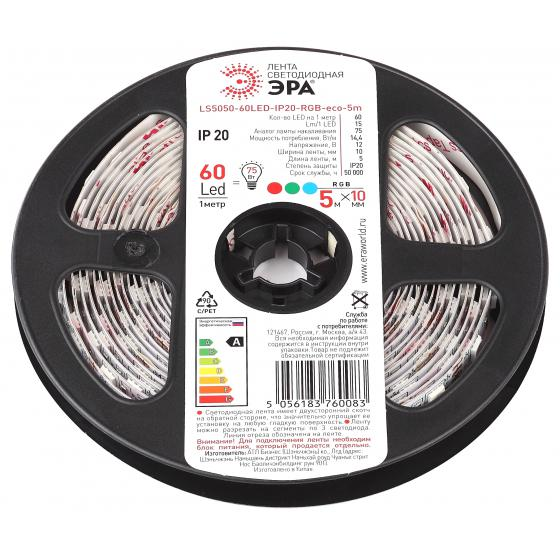 цена на Лента светодиодная ЭРА Ls5050-60led-ip20-rgb-eco-5m Б0035606