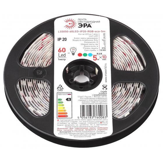 цена на Лента светодиодная ЭРА Ls5050-60led-ip65-rgb-eco-5m Б0035608