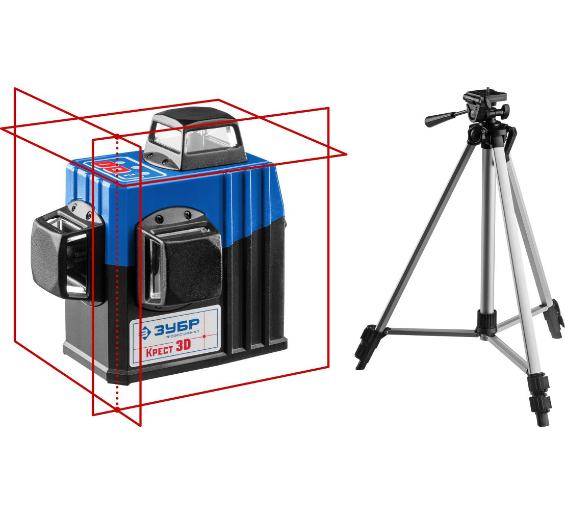 Нивелир лазерный ЗУБР Крест-3D-2 с приемником 34908-2