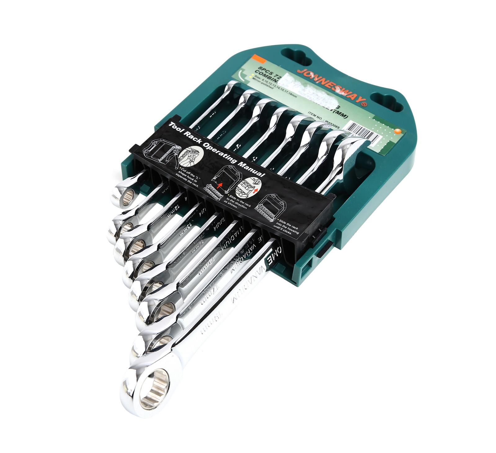 Набор гаечных ключей с трещоткой, 8 шт. Jonnesway W45308s комбинированные трещоточные ключи 8шт набор гаечных комбинированных ключей с трещоткой 7 шт gross 14891 комбинированные ключи