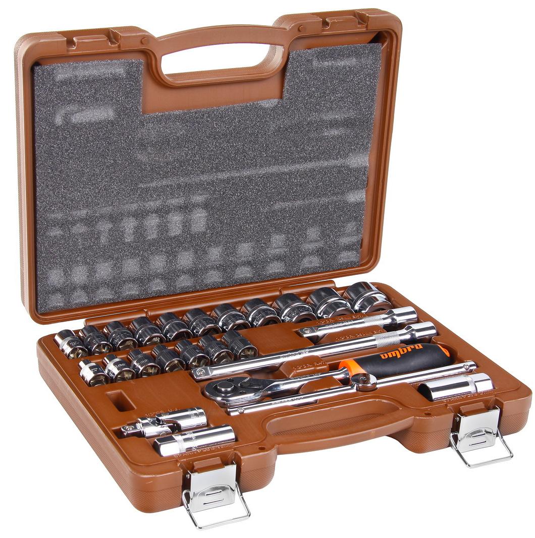 Набор торцевых головок с принадлежностями, 25 предметов Ombra 911225 набор торцевых головок jonnesway 3 8dr 6 22 мм и комбинированных ключей 7 17 мм 36 предметов