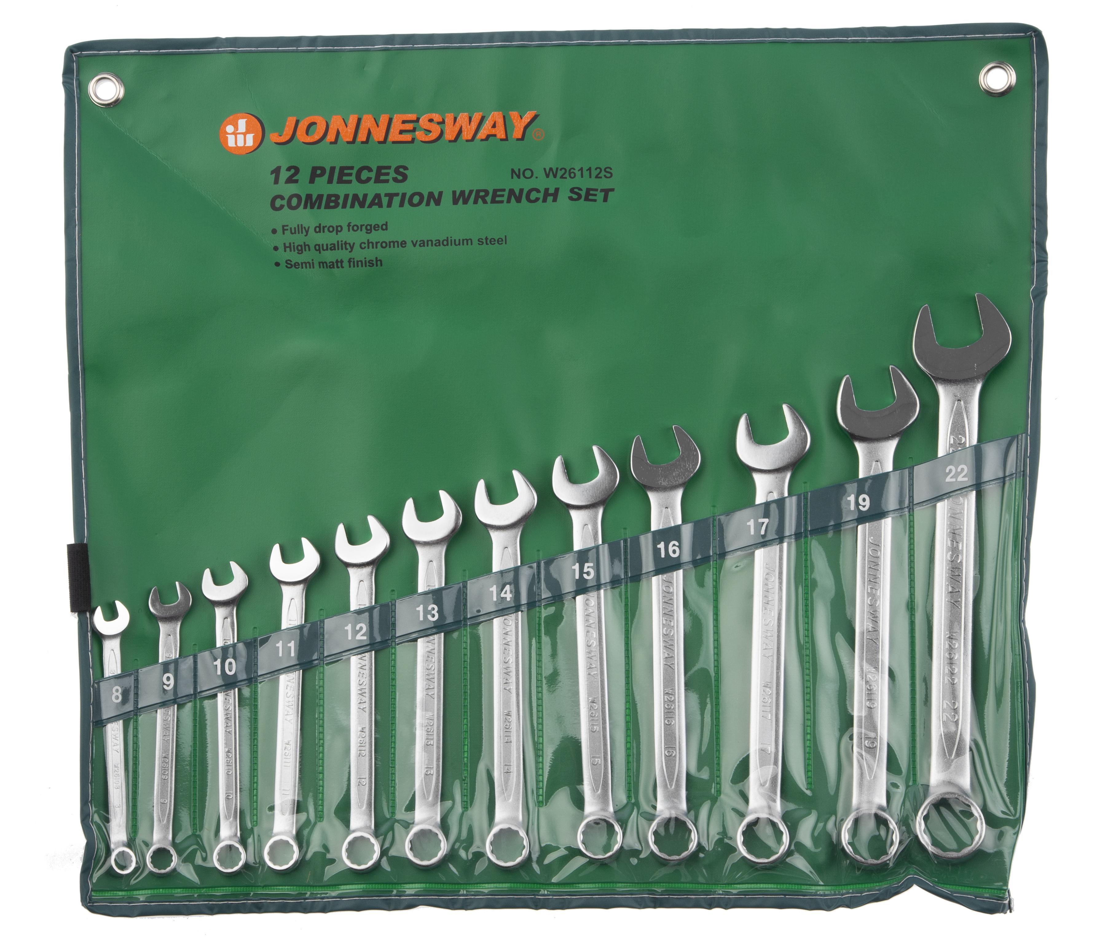 Набор комбинированных гаечных ключей в чехле, 12 шт. Jonnesway W26112s (8 - 22 мм) набор комбинированных гаечных ключей 12 шт курс 63418 6 22 мм