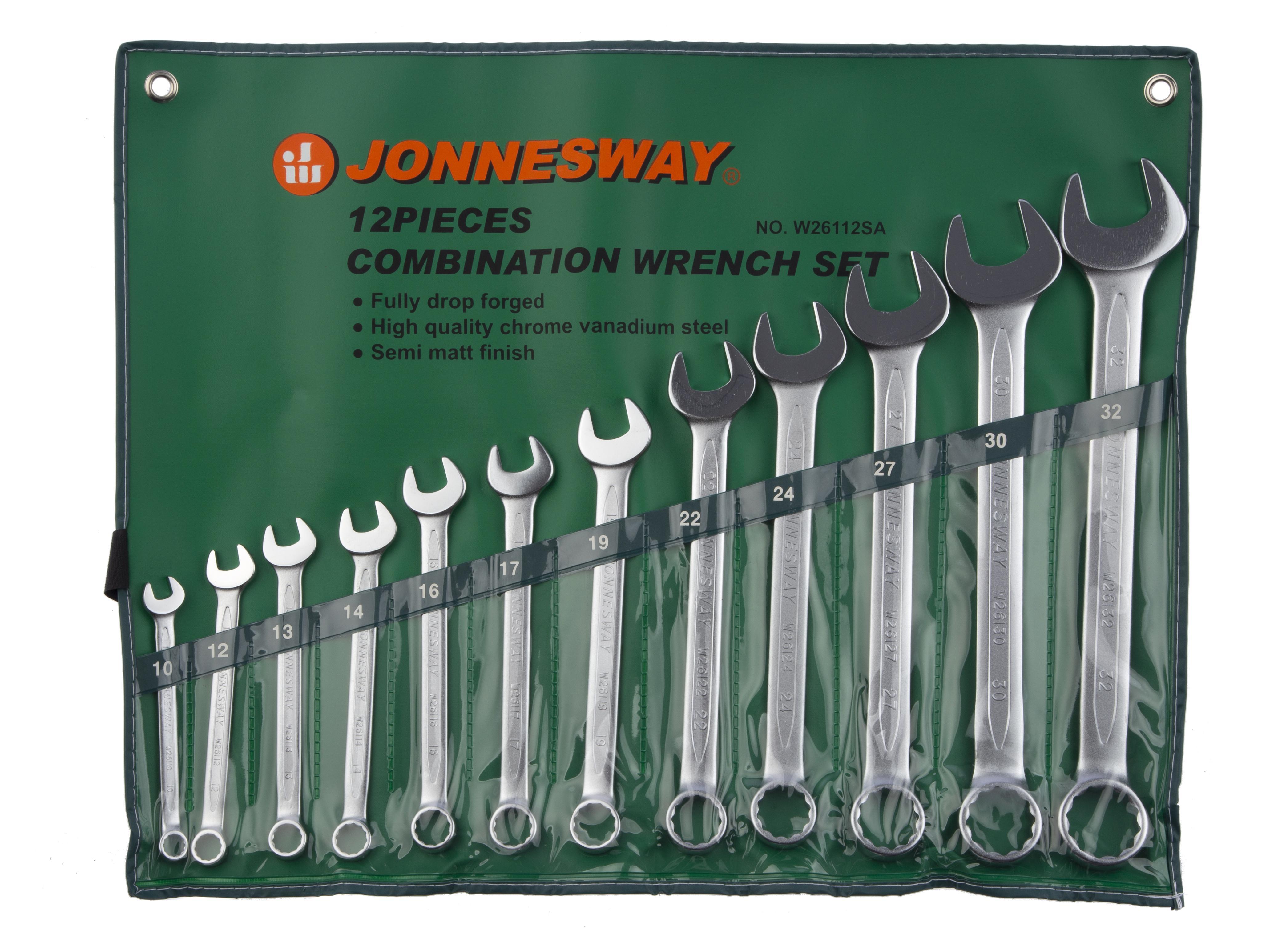 Набор комбинированных гаечных ключей в чехле, 12 шт. Jonnesway W26112sa (10 - 32 мм) набор комбинированных трещоточных ключей jonnesway w45107s 10 19мм 7 предметов