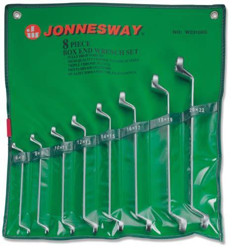 Набор накидных гаечных ключей в чехле, 8 шт. Jonnesway W23108s (6 - 22 мм) набор для регулировки фаз грм дизельных двигателей renault nissan dci jonnesway al010183