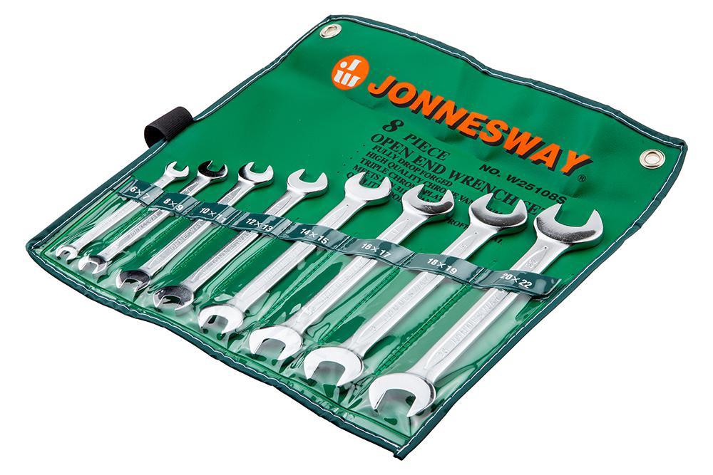 Набор рожковых гаечных ключей в чехле, 8 шт. Jonnesway W25108s (6 - 22 мм) набор торцевых головок jonnesway 3 8dr 6 22 мм и комбинированных ключей 7 17 мм 36 предметов