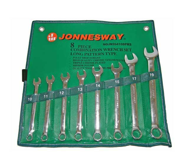 Набор комбинированных гаечных ключей в чехле, 8шт. Jonnesway W264108prs (10 - 19 мм) набор комбинированных трещоточных ключей jonnesway w45107s 10 19мм 7 предметов