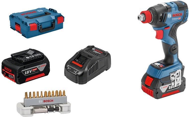 Набор Bosch Гайковерт аккумуляторный gdx 18v-200 c (06019g4201) +Набор бит max grip 2608522133 набор bosch гайковерт аккумуляторный gdx 18 v ec 0 601 9b9 102 адаптер gaa 18v 24