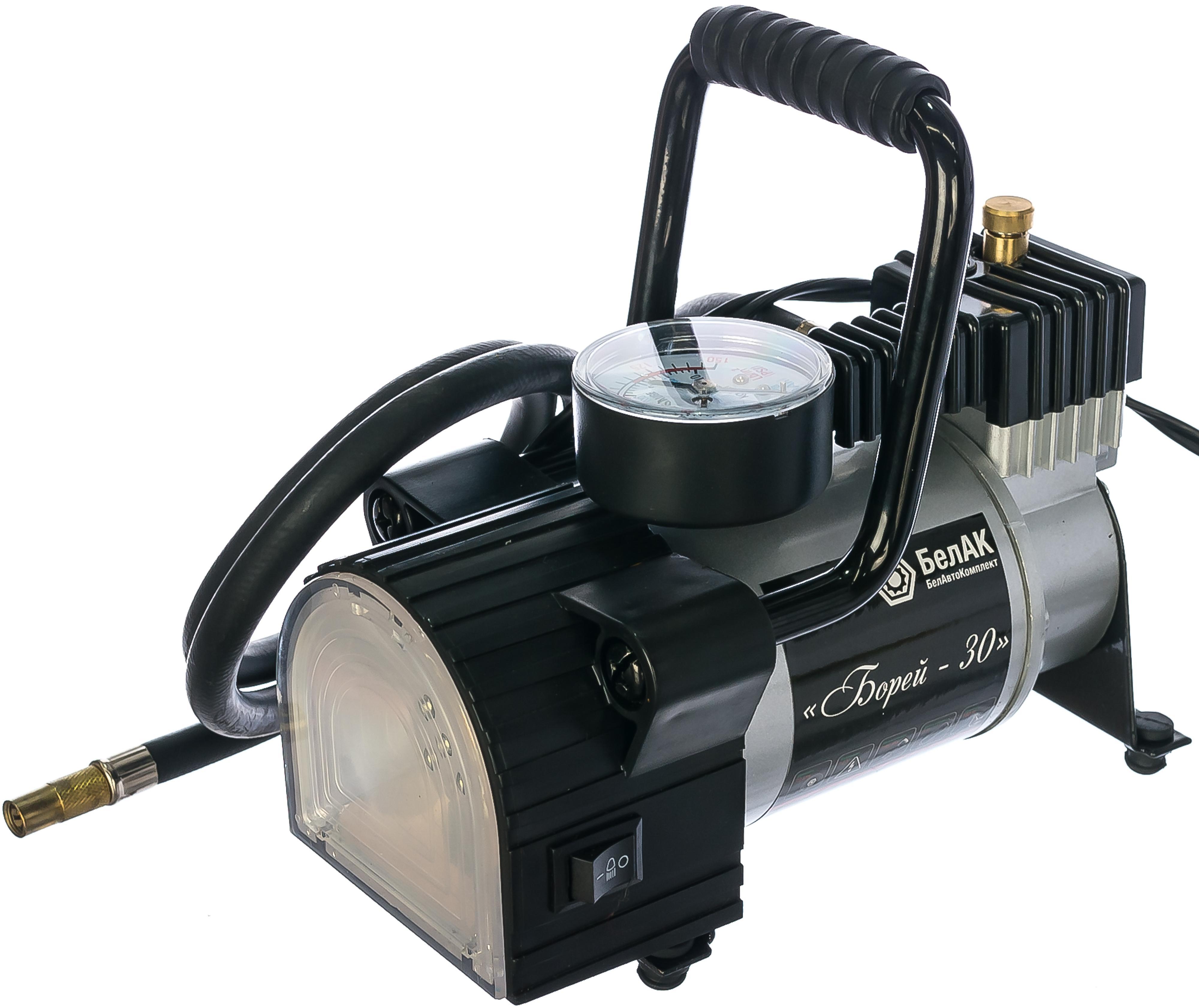 Автомобильный компрессор с фонарем БелАК (БЕЛАВТОКОМПЛЕКТ) Борей-30 (БАК.99154)