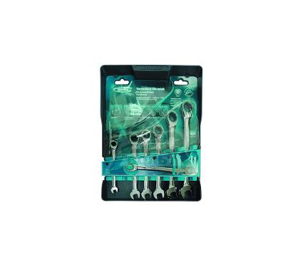 Набор  комбинированных гаечных ключей с трещоткой, 7 шт. GROSS 14890
