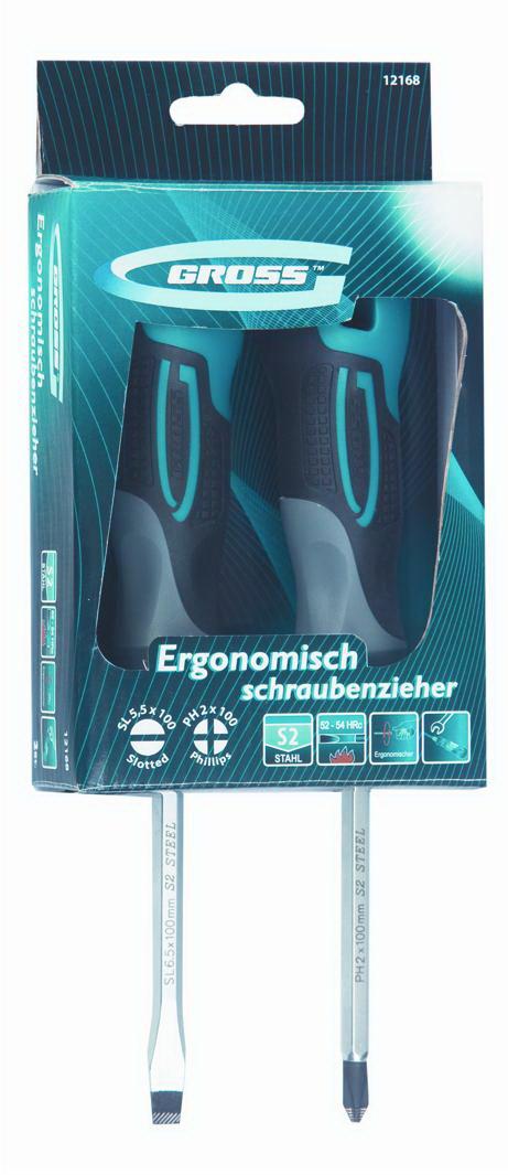 Набор отверток, 2 шт. Gross Комбинированный набор sl6.5, ph2 степлер мебельный gross 41005
