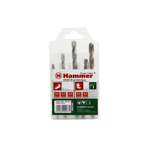 Набор сверл Hammer подарок dr set no6 (5pcs) 5-8мм бур hammer 201 902 dr sds set no2 6pcs 5 6 8 x 110 6 8 10 x 160