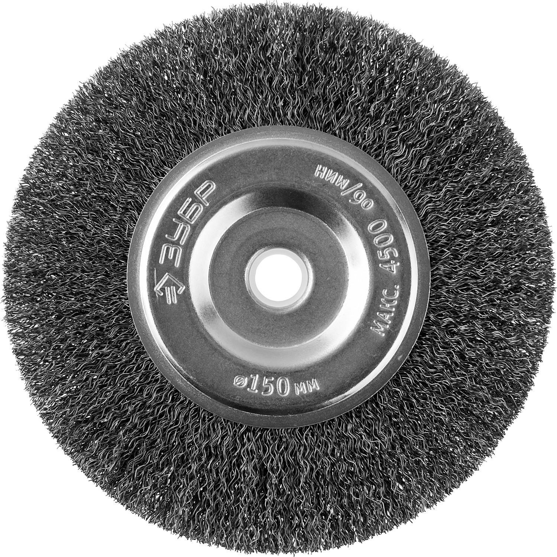Кордщетка ЗУБР плоская 150мм для шлиф.машины гофрированная сталь (35185-150_z02)