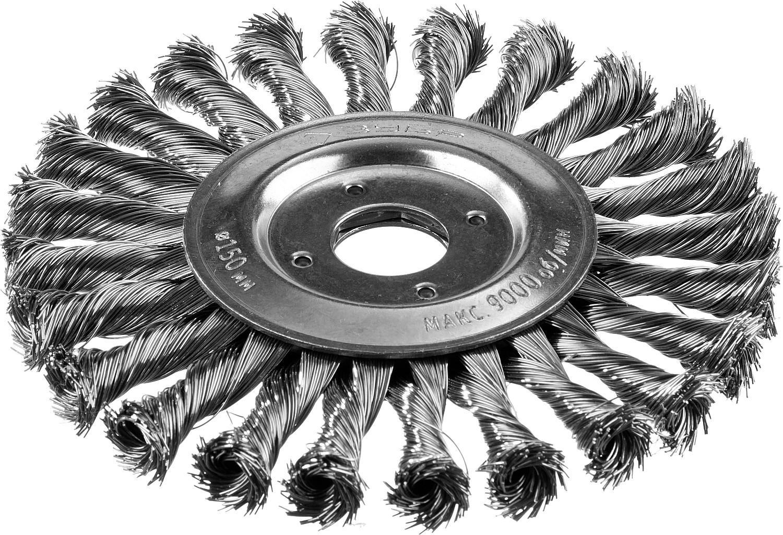 Кордщетка ЗУБР плоская 150мм для УШМ витая сталь (35190-150_z02)