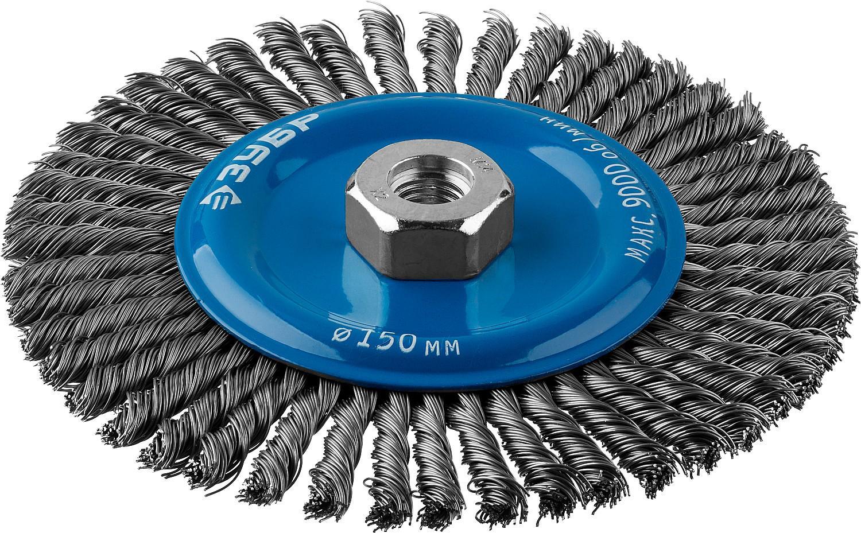 Кордщетка ЗУБР плоская 150мм для УШМ витая сталь (35192-150_z02)