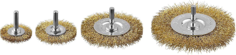 Набор кордщеток ЗУБР плоских 4шт. для дрели гофрированная латунированная сталь (3521-h4_z03)
