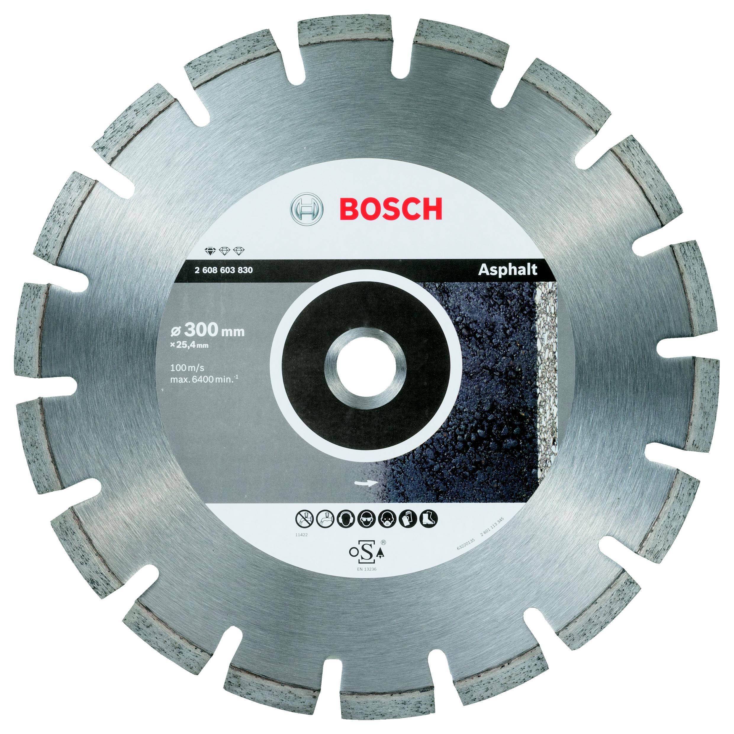 Круг алмазный Bosch Ф300х25.4мм по асфальту (2608603830 standard for asphalt) зубило по асфальту bosch 2608690003 по асфальту sds max 90x400мм