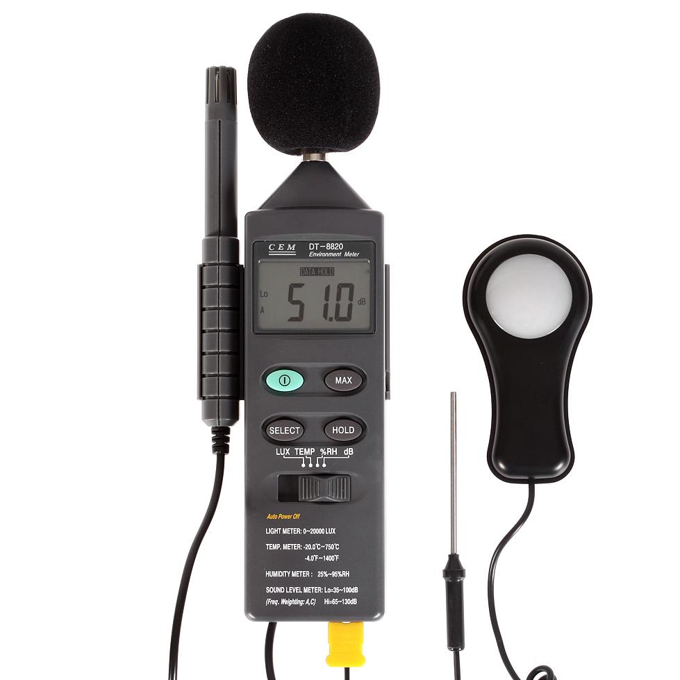 Измеритель уровня шума Cem Шумомер Люксметр Влагомер Термометр dt-8820 влагомер cem dt 125h