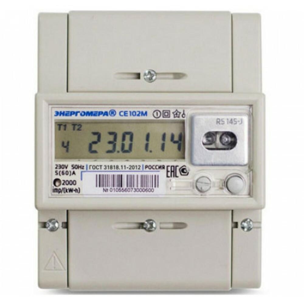 Счетчик электроэнергии ЭНЕРГОМЕРА 253295 СЕ 102М r5 145 j 1ф 5-60А счетчик электрической энергии энергомера цэ6803в 1 3ф 5 60а 230в 1 класс точности 1 тарифный 4пр m7p31 din рейка 101003001011074