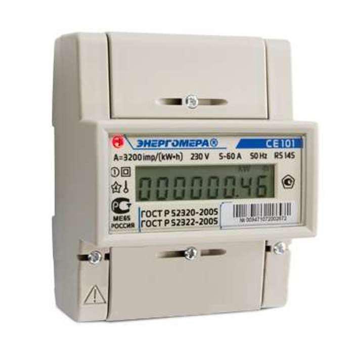 Счетчик электроэнергии ЭНЕРГОМЕРА 122216 СЕ 101 r5 145 1ф 5-60А счетчик электрический трехфазный однотарифный цэ6803в 60 5 т