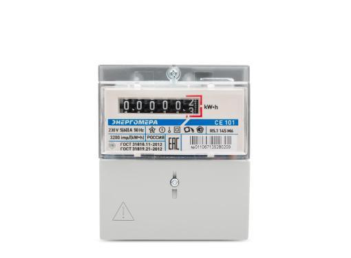 Счетчик электроэнергии ЭНЕРГОМЕРА 340797 СЕ 101 R5.1 145 М6 1ф 5-60А 230В