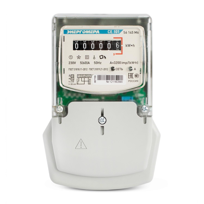Счетчик электроэнергии ЭНЕРГОМЕРА 88962 СЕ 101 s6 145 М6 1ф 5-60А счетчик электрической энергии энергомера цэ6803в 1 3ф 5 60а 230в 1 класс точности 1 тарифный 4пр m7p31 din рейка 101003001011074