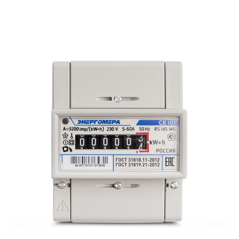 Счетчик электроэнергии ЭНЕРГОМЕРА 88963 СЕ 101 r5 145 М6 1ф 5-60А счетчик электрический трехфазный однотарифный цэ6803в 60 5 т