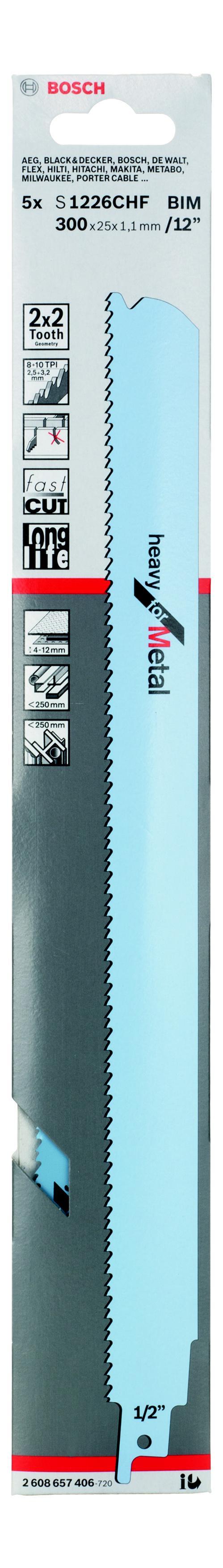 Полотно для сабельной пилы Bosch S 1226 chf (2.608.657.406) полотно для сабельной пилы bosch 300 мм для gsg 300 2 607 018 012