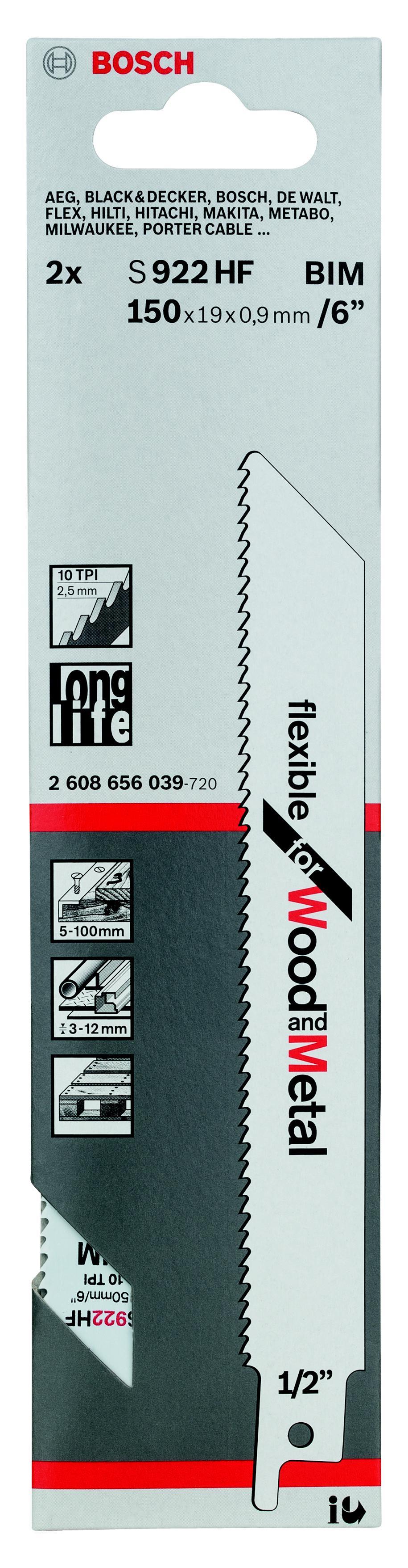 Купить Полотно для сабельной пилы Bosch S 922 hf (2.608.656.039)