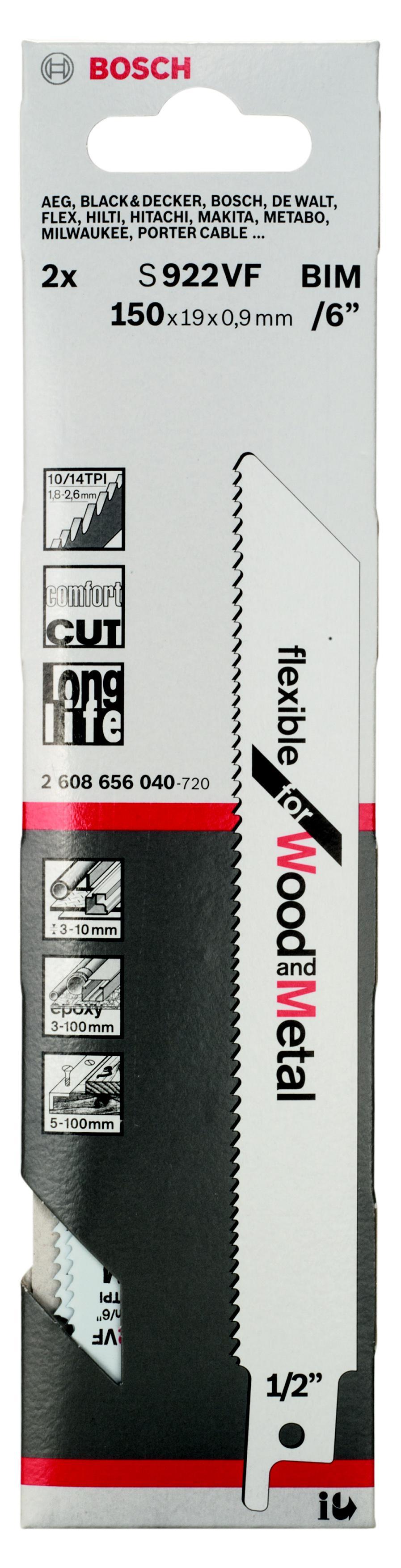 Купить Полотно для сабельной пилы Bosch S 922 vf (2.608.656.040)