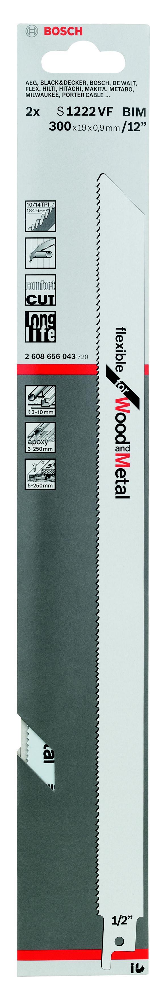 Полотно для сабельной пилы Bosch S 1222 vf (2.608.656.043) полотно для сабельной пилы bosch 300 мм для gsg 300 2 607 018 012
