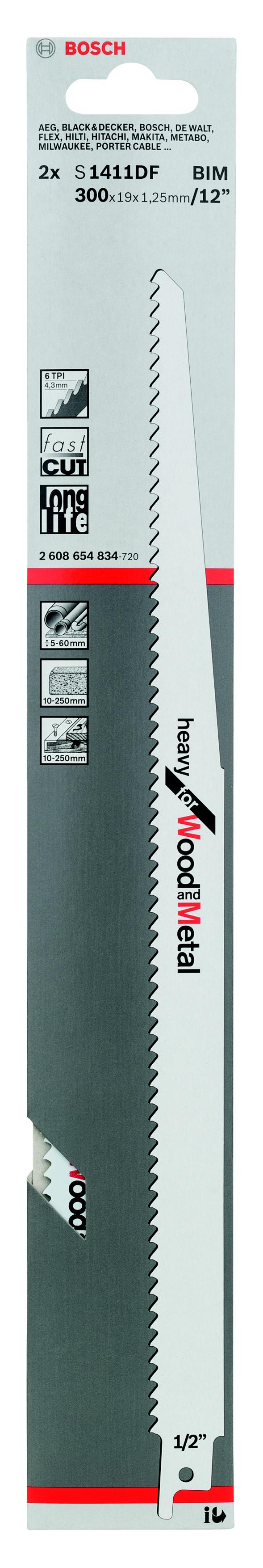 Полотно для сабельной пилы Bosch S 1411 df (2.608.654.834) полотно для сабельной пилы bosch 300 мм для gsg 300 2 607 018 012