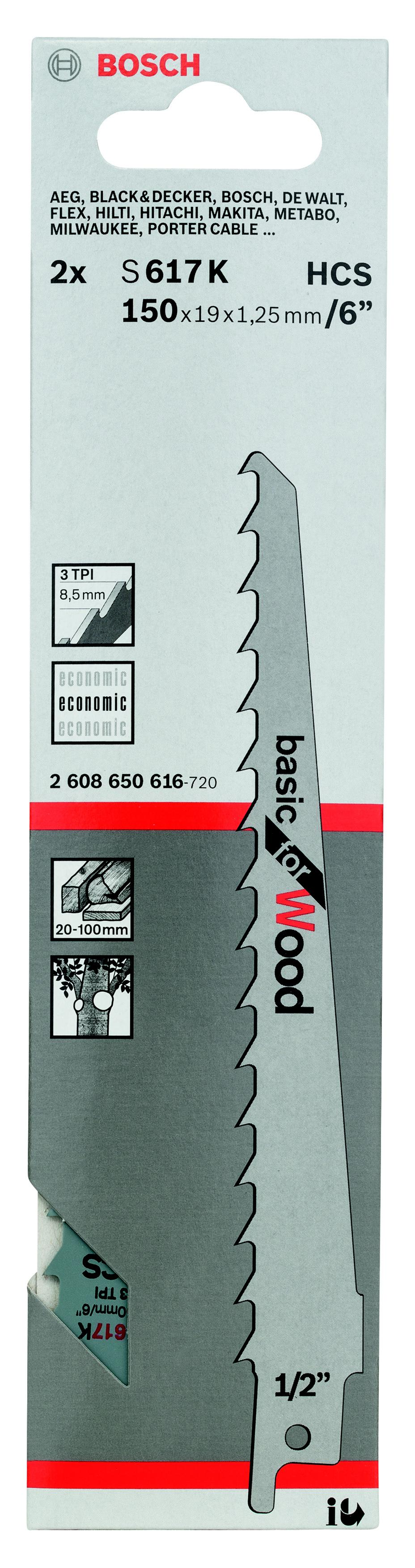 Полотно для сабельной пилы Bosch S 617 k (2.608.650.616) bosch s 1542 k