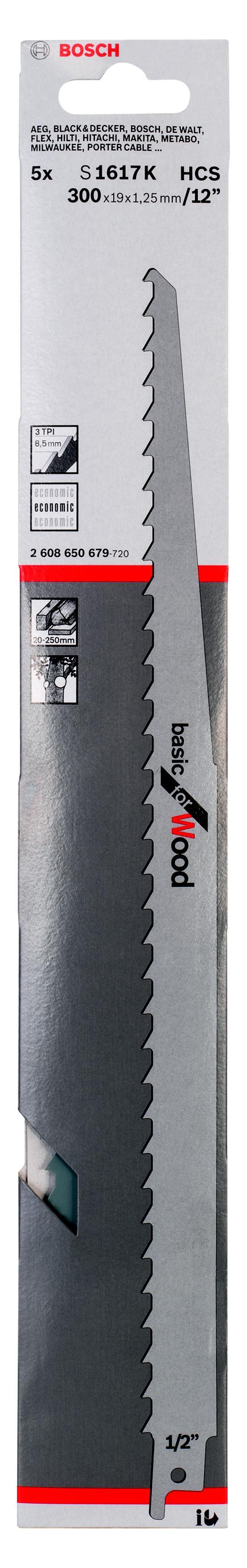 Полотно для сабельной пилы Bosch S 1617 k (2.608.650.679) полотно для сабельной пилы bosch 300 мм для gsg 300 2 607 018 012