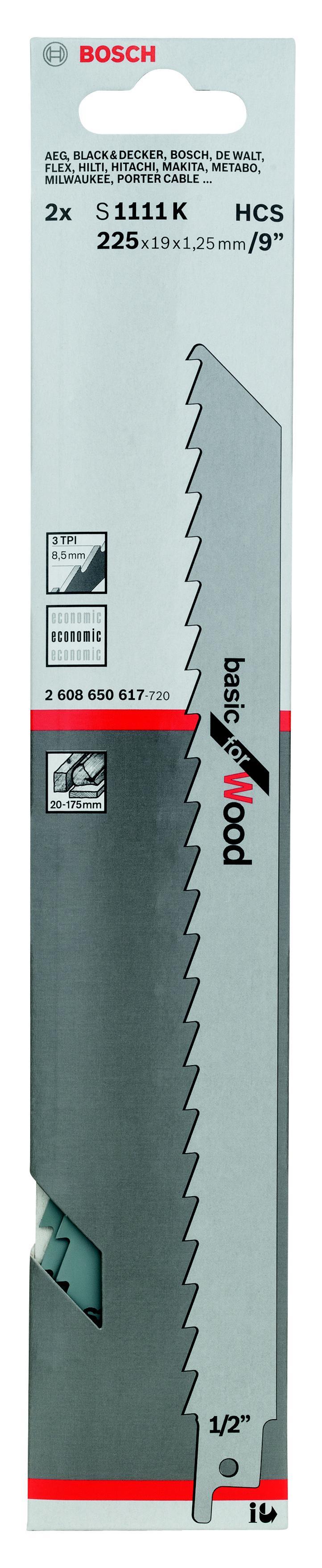 Полотно для сабельной пилы Bosch S 1111 k (2.608.650.617) bosch s 1542 k