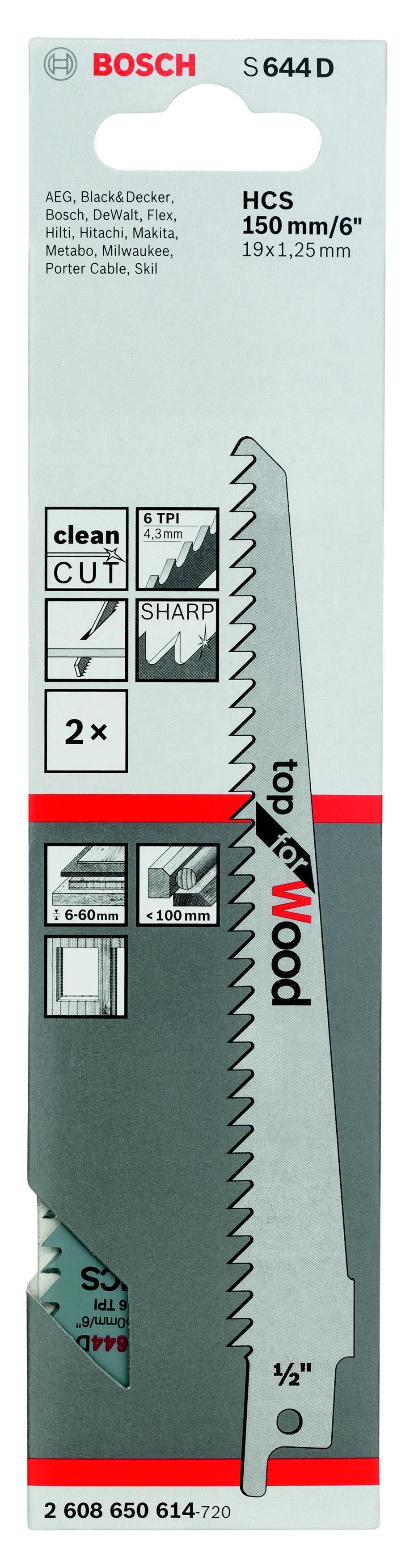 Полотно для сабельной пилы Bosch S 644 d (2.608.650.614) d s