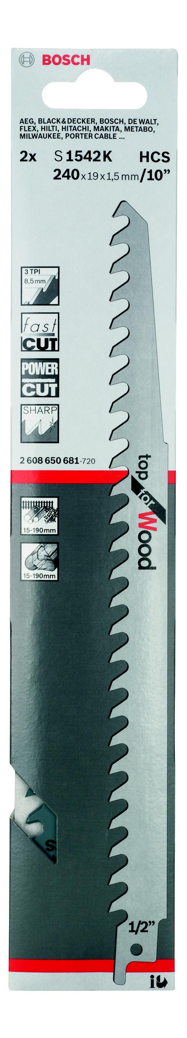 Полотно для сабельной пилы Bosch S 1542 k (2.608.650.681) bosch s 1542 k