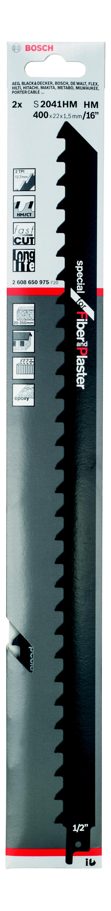 Полотно для сабельной пилы Bosch S 2041 hm (2.608.650.975) bosch hm tf 300 nhm
