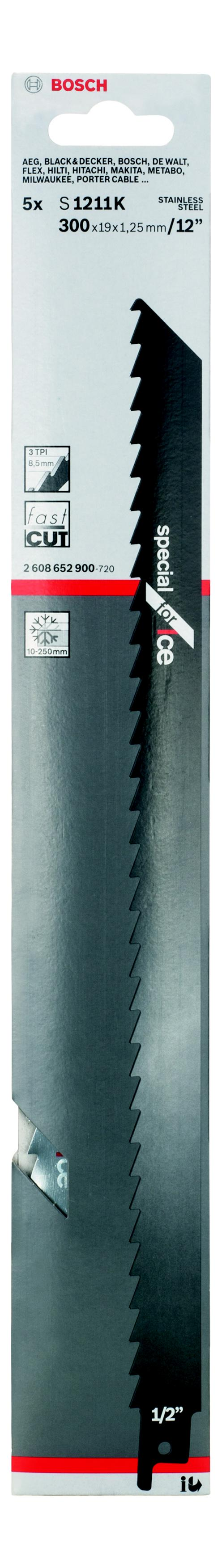 Полотно для сабельной пилы Bosch S 1211 k (2.608.652.900) bosch s 1542 k