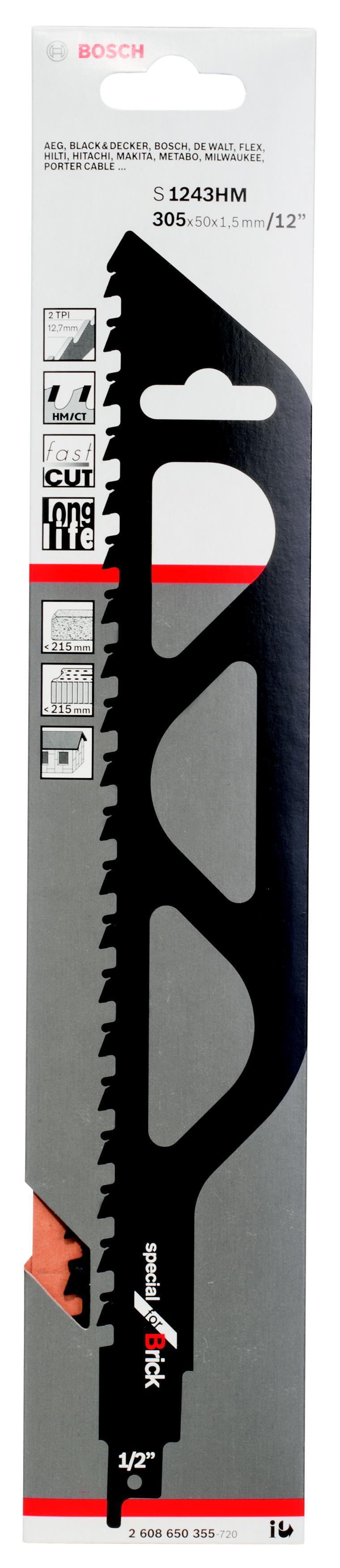 Полотно для сабельной пилы Bosch S 1243 hm (2.608.650.355) bosch hm tf 300 nhm