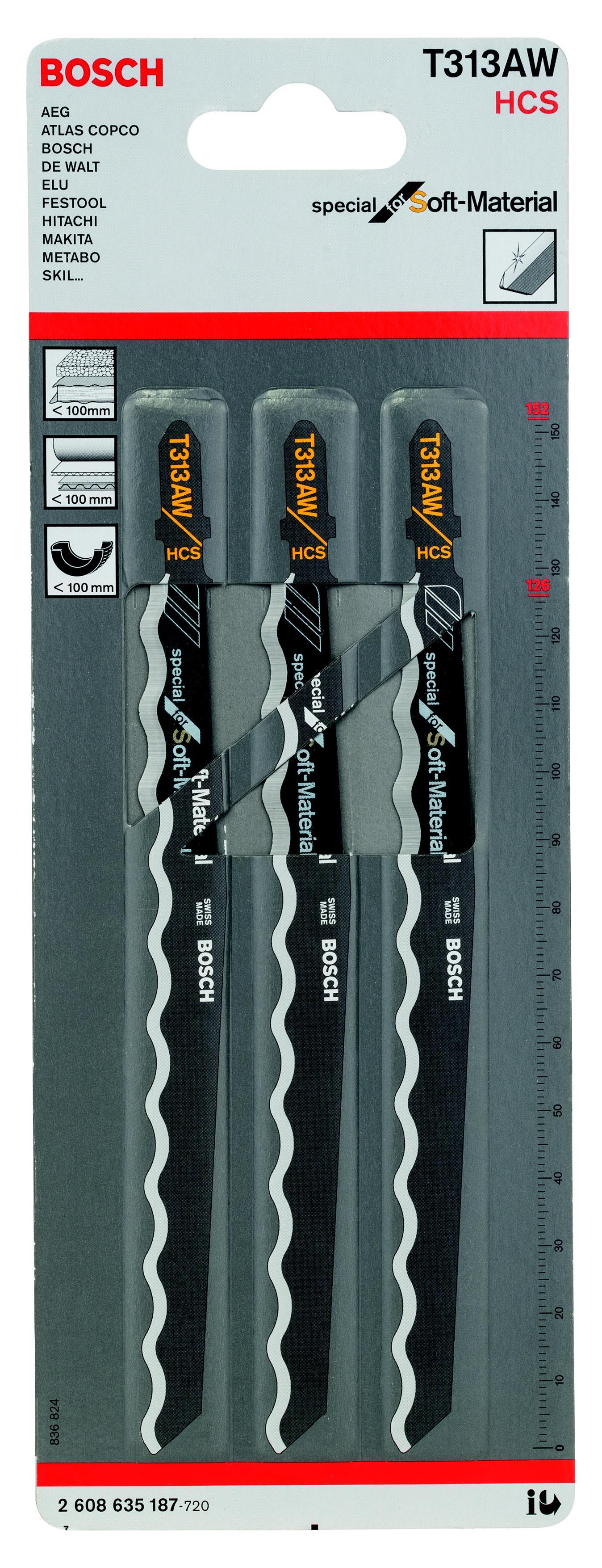 Пилки для лобзика Bosch T313aw (2.608.635.187), Швейцария  - Купить