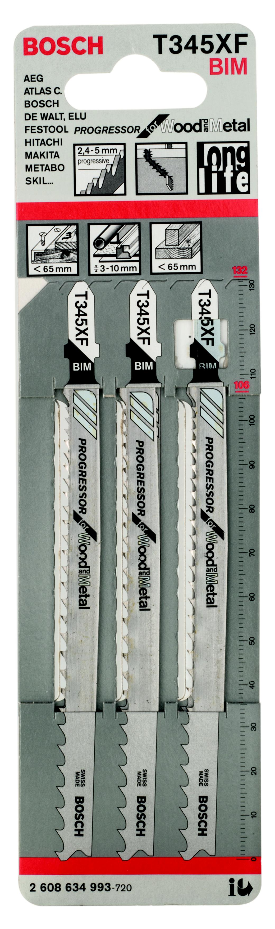 Пилки для лобзика Bosch T345xf progressor (2.608.634.993) пилки для лобзика универсальные t345xf 2 шт 10 70 мм практика стандарт