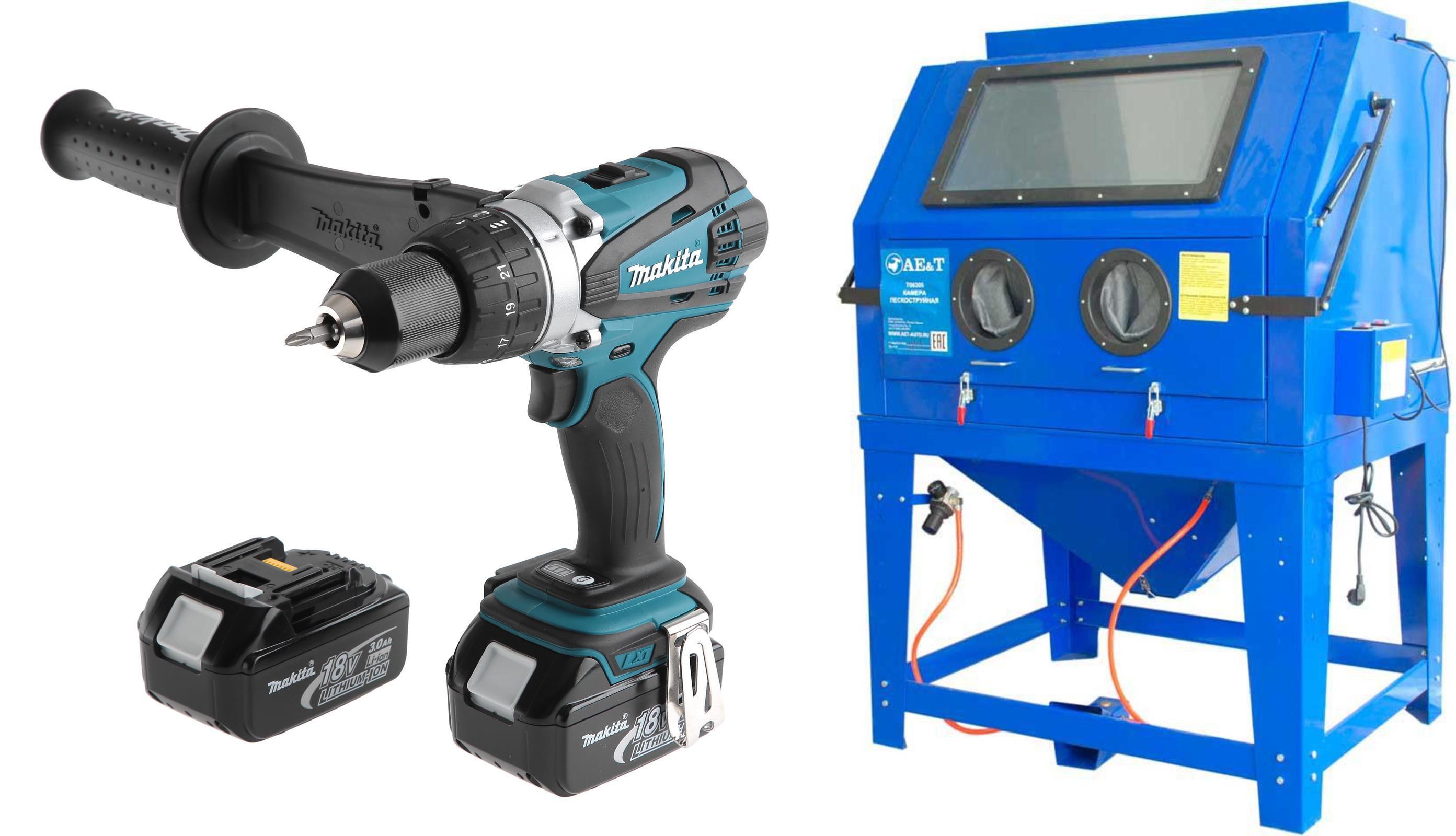 Набор Ae&t Пескоструйный аппарат t06305 +Дрель аккумуляторная ddf458rfe liion