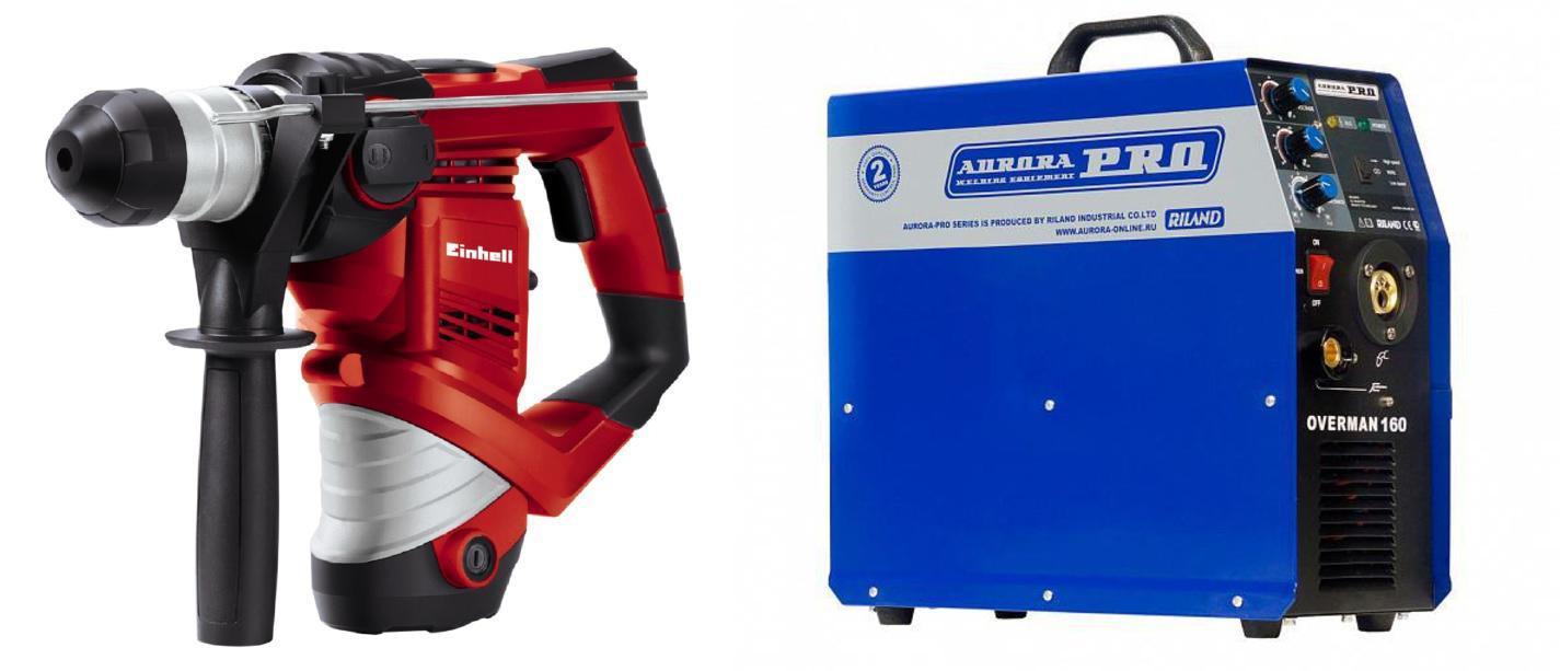 Набор Aurora pro Сварочный полуавтомат overman 160 mosfet +Перфоратор th-rh 900/1 (4258237)