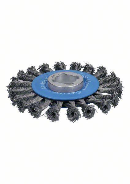 Кордщетка Bosch плоская 115мм для УШМ витая сталь (2608620731 x-lock) кордщетка edge плоская 180мм для ушм витая сталь 813010013