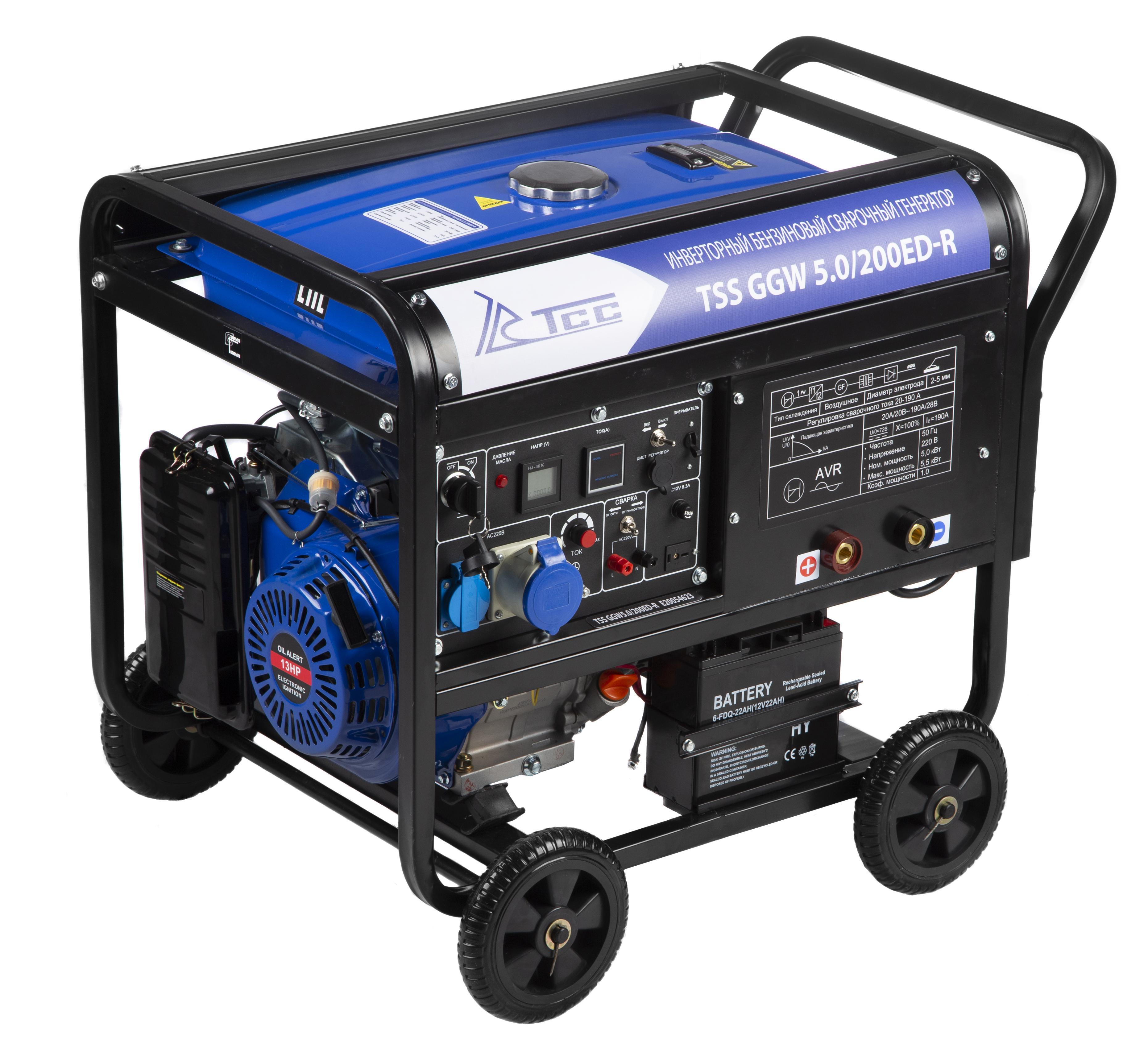 Сварочный бензиновый генератор ТСС Ggw 5.0/200ed-r (22957) инверторный бензиновый генератор тсс ggw 5 0 200ed r 22957 сварочный 98кг бензин 5квт 220 12в