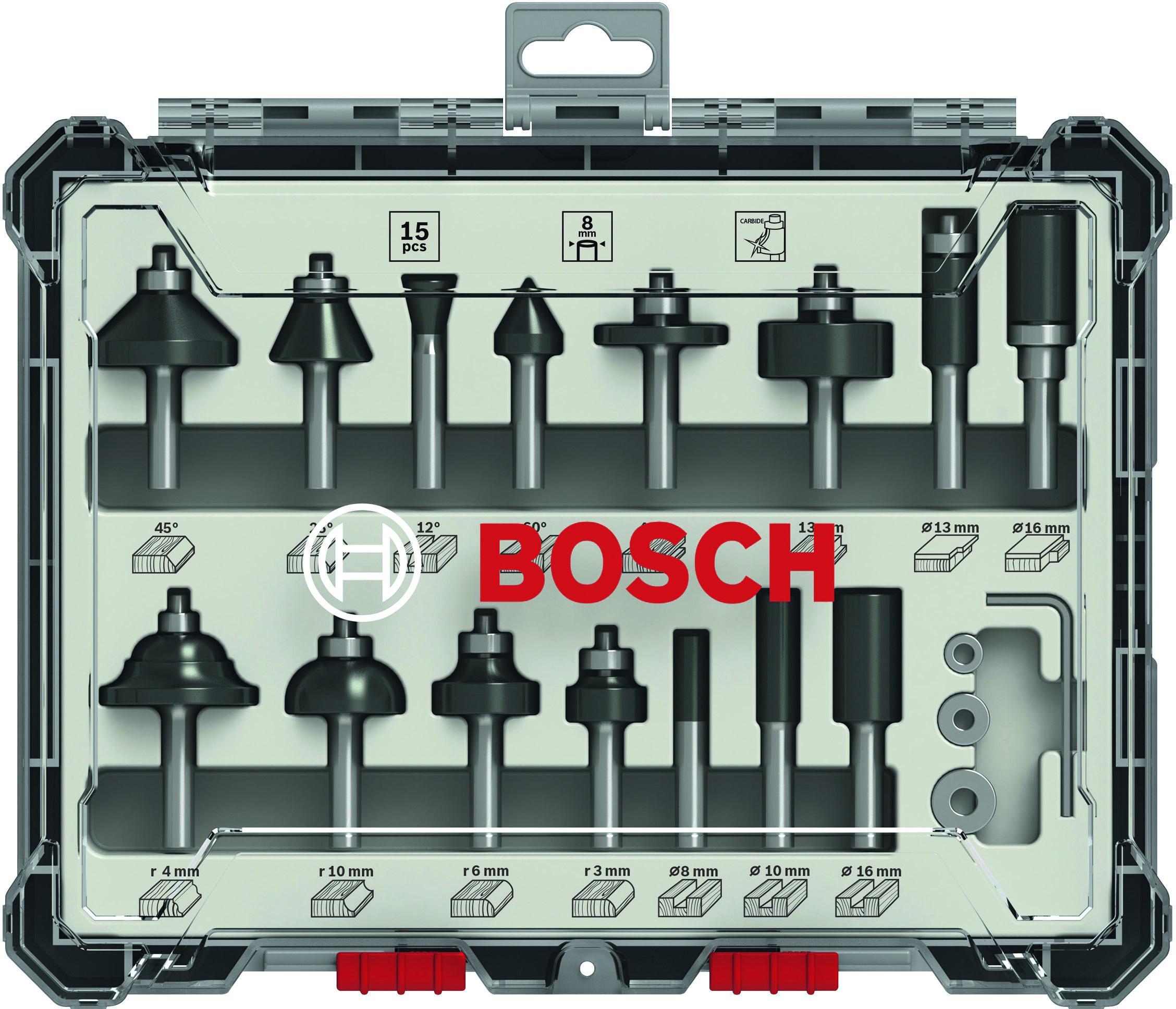 Набор фрез Bosch S8мм (15шт., 2 607 017 472)