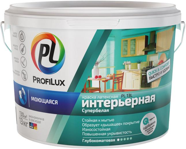 Краска Profilux Pl- 13l ЗИМА 14кг вд латекс. моющаяся износоуст. СУПЕРбел база 1 фото