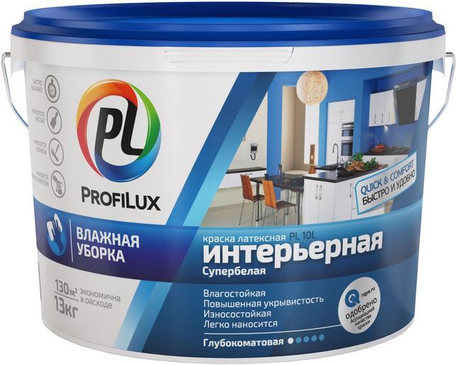 Краска Profilux Pl- 10l ЗИМА 7кг вд латекс. влагостойкая супербелая (голуб. эт.) цена