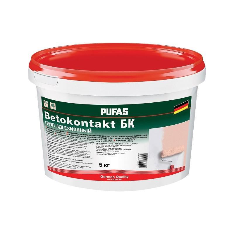 Грунтовка Pufas Бетоконтакт БК для внутренних работ 5кг для повышения адгезии мороз. фото